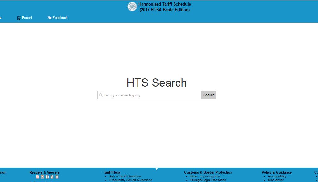 HTS-Harmonized Tariff Schedule