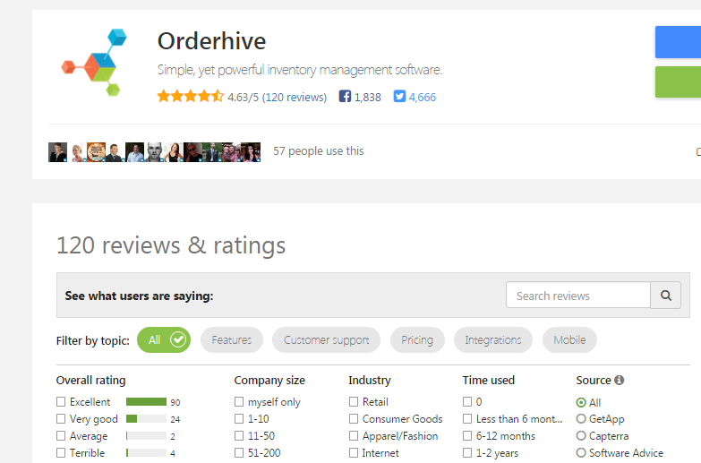 Orderhive's overall ranking on Getapp