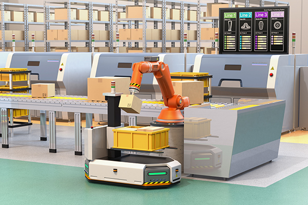 Robotic arm picking parcel from conveyor to AGV