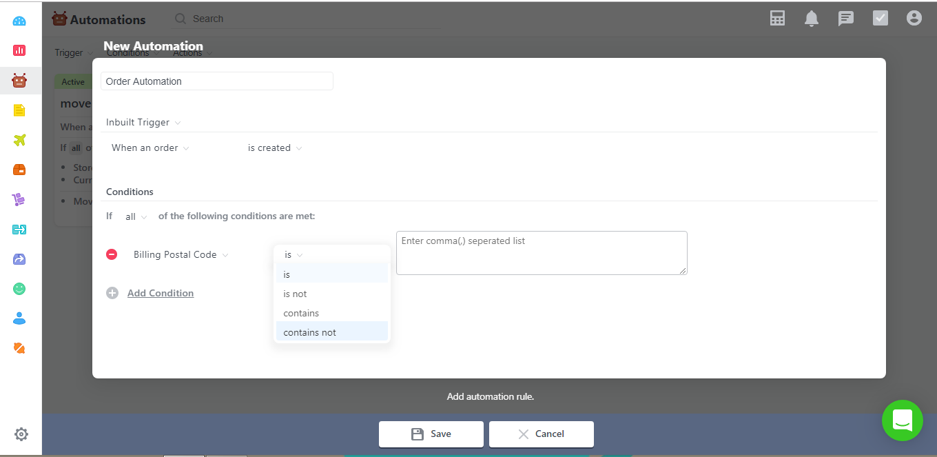 Shipment And Billing Postal Code Condition Added Contains And Contains Not Operators Orderhive